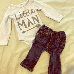 Long sleeve onesie and jeans!